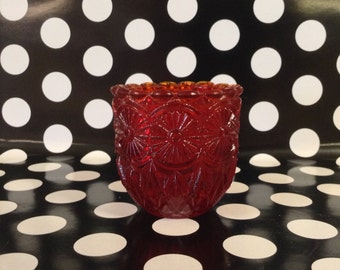 Rojo Faroy~Daisy~Glass~Votive Candle Holder~USA