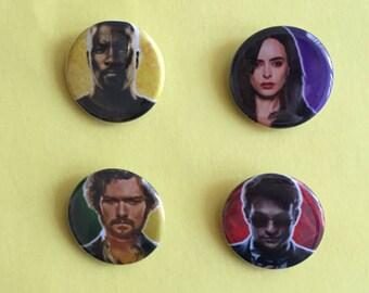 The Defenders Luke Cage / Jessica Jones / Danny Rand / Matt Murdock Pinback Buttons