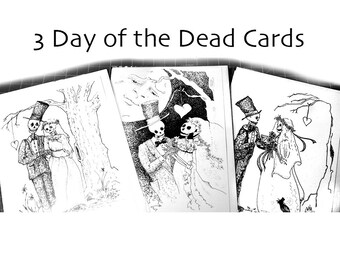 Skeleton wedding, Day of the Dead, Pen and Ink Drawing, 5 x 7 cards, bride and groom gift, halloween decor, gothic skeleton illustrations