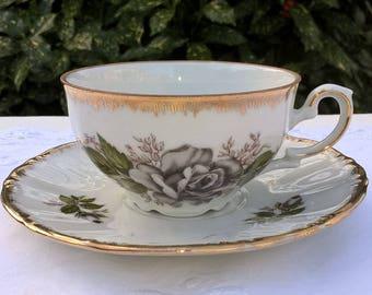 Kronester Bavaria teacup and saucer, vintage teacup with gray rose