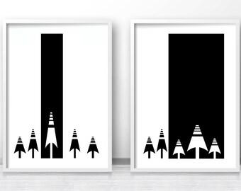 Scandinavian Prints, Modern Art Print,  Set of 2 Black and White Wall Art Prints,  Minimalist Art,  Forest Trees Art, Black and White Decor