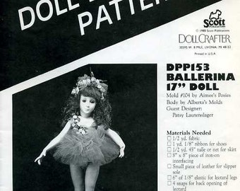 "FREE US SHIP Poissot Doll Dress Pattern Retro 1980's dpp 153 Ballerina 17"" Doll 1994 Sewing Pattern Insert From Dollcrafter Vintage Magazine"