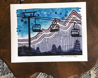 LIFT ME à la montagne - copie d'archives fabriqué à partir de linogravure originale et peinture à l'aquarelle