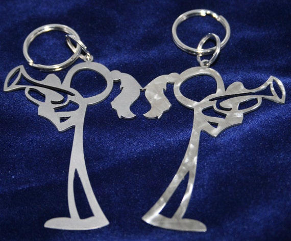 Female Trumpet Player Stick Figure Keychain charm