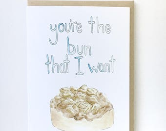 valentine's card, Funny love notecard, food pun greeting, sweet anniversary card, love letter for him, brunch paper goods, grease lyric pun