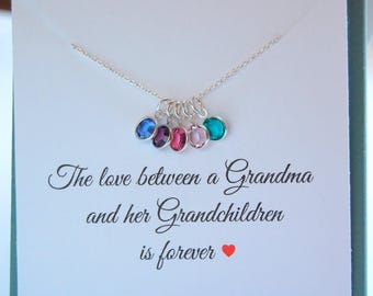 Gift for Grandma, Birthstone Charm Necklace, Grandma Gift, Grandmother necklace, Grandma gift from her grandchildren