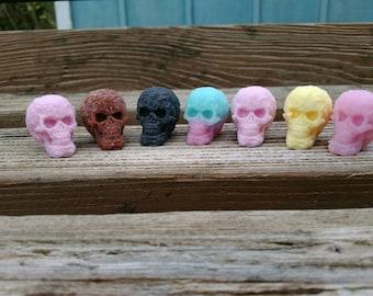 Skull shaped soap thumb size set of five, pirate party favors,  skeleton head soap, tiny skull, skull soap, novelty soap, guest soap
