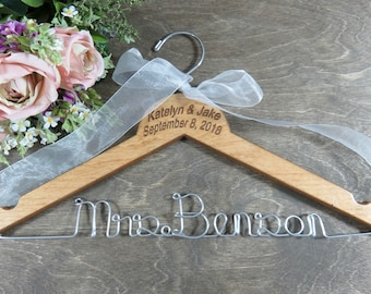 Bridal Hangers - Bride Coat Hangers - Deluxe Hanger - Hanger with Date - Bride Gift Ideas - Wedding Hanger Name - Engraved Hanger - Bridal