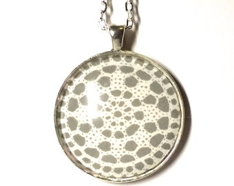 """Snowflake Necklace, Round, Silver, 1.5 inch, Rolo Loop Chain, Lobster Clasp, 24"""" or 30"""" length."""