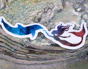 MINI Galaxy Mermaid Vinyl Sticker | Laptop Decal | Water bottle Sticker | Mermaid Sticker | Mermaid Decal | Galaxy Mermaid Decal