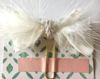 Planner Clips Lace and Feathers