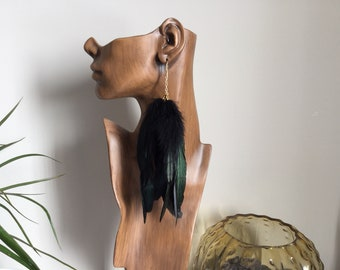Long Black Feather Earring Single