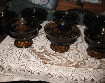"BROWN SMOKED GLASS 7 Dessert Dishes Footed Dessert Cups Sherbet Cups 3"" High 4 1/4"" Across Top Thick Heavy Glass"