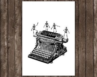 Das menschliche Skelett tanzt auf Schreibmaschinen Geekery Hauptdekor