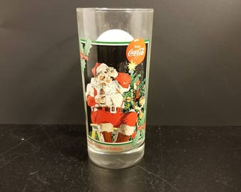 Coca Cola Krystal's Christmas Santa Claus Drinking Glasses Vintage 1995 Collectible