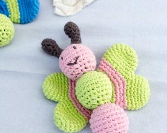 Baby rattle butterfly, amigurumi rattle in organic cotton