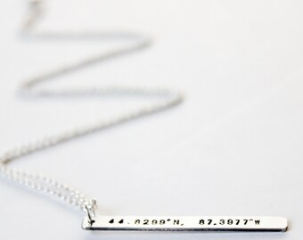Necklace - Bar Necklace in Sterling Silver or Gold - Nautical - Bridesmaid - Mother - Long Drop Pendant - Coordinates - Names - Stamped