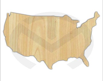 United States - 01612- Unfinished Wood Laser Cutout, Wreath Accent, Door Hanging, July 4th, Patriotic, Various Sizes