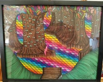 Framed Original Psychedelic Art, Trippy Art, Rainbow Forest, Surrealistic