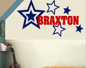 Boy's Room Sports Name with Stars Wall Decal Set  NM-137