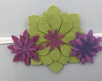 Succulent Trio Green, Pink and Purple