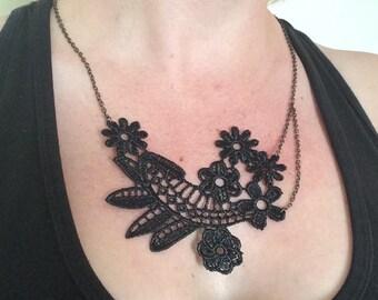 Unique vintage black lace on an antiqued bronze chain