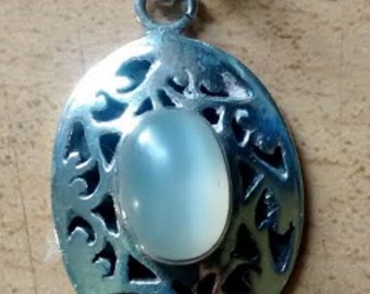 Vintage Hand-Made Chunky Moonstone Cut-Out Silver Pendant with Solid Silver Back
