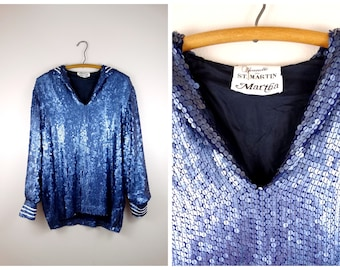 Nautical Sequin Sailor Top / Fully Embellished Silk Sequined Blouse / Matte Navy Blue Sequined Top by Jeanette for St. Martin and Martha