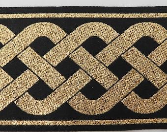 """Jacquard Ribbon   Jacquard Trim 2"""" Woven Metallic Jacquard Ribbon Trim Tape   Gold~black~Celtic knot pattern~reversible"""
