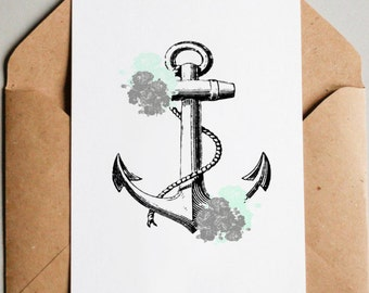 Printable 8x10 Anchor with Flowers Poster - Instant Download