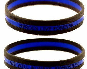 Heroes Live Forever Thin Blue Line Wristband- INDIVIDUAL SKU: WB11-0001