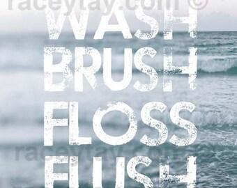 Bathroom Print, Blue, Wash Brush Floss Flush, Bathroom Wall Art, Bathroom Rules