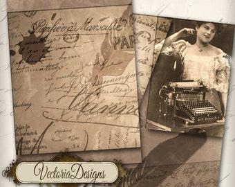 The Writer ATC vintage images digital background instant download printable collage sheet - VD0241