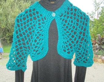 Girl's 3-10 Turquoise Bolero Crocheted by SuzannesStitches, Juniors 7/8 Turquoise Bolero, Girls 3 - 10 Blue Shrug, Womens Size 6 Blue Bolero