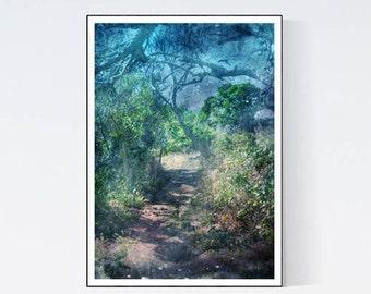 Teal print, Green sea wall decor, Green wall art, Bedroom teal art, Bedroom arts teal, Forest photo, PRINTABLE arts, Digital decor green, A3