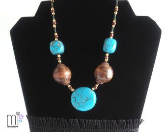Faux Turquoise and Wood Beaded Necklace