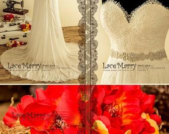 Silk Chiffon Boho Wedding Dress from Alencon Lace, Chiffon Boho Wedding Dress, Summer Wedding Dress, Airy Wedding Dresses, Wedding Dresses