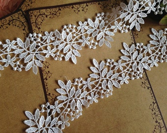 """2 Yards Cream White Venice Lace Trim Floral Leaves Lace Hollowed Out Trim 2.28"""" Wide"""