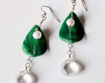 Green Jade Earrings/ dangle earrings/ nature wedding/ nature inspired/ jade earrings/ leaf jewelry/ eco jewelry