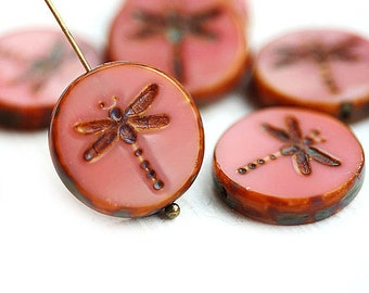 4pc Coral Pink Dragonfly beads, czech glass beads, picasso table cut beads, round tablet shape - 17mm - 2136