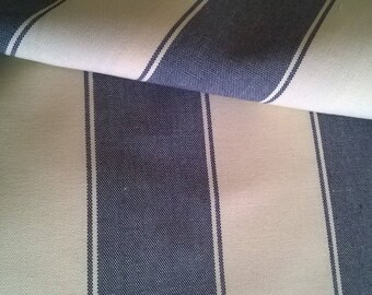 Fabric upholstery ticking stripes blue, white