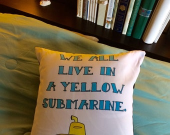 Nursery Pillow, Yellow Submarine, The Beatles, Beatles, Throw Pillow, Throw Pillows, Decorative Pillows, Home decor, Home decor pillows