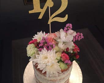 Half Birthday, Number or text number Gold Glitter Topper