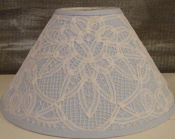 Quintessentially Shabby Chic Lamp Shade, Light Baby Blue, Lace, Lacey  Doiley, Bedroom