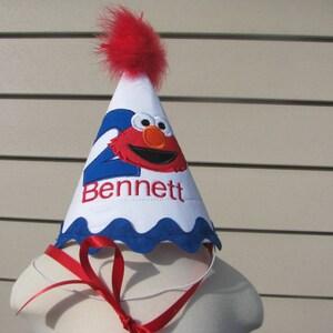 Boys 2nd birthday elmo hat, Elmo boys first birthday hat,  smash cake hat,  party hat, boys 1st birthday, 2nd birthday, free personalization