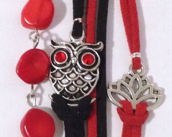 Black and Red suede with OWL and red semi precious stone pendant bracelet.