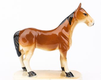 70's Ceramic Horse Figurine, Brown, Vintage Home Decor