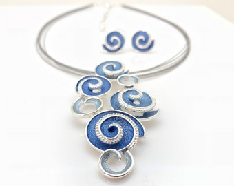 "Blue Wave Necklace with Earrings // Non Tarnishing E-Coat Finish // 16"" Steel Choker w3""Extension"