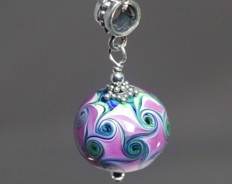 Lampwork hollow glass bead pendant in fuchsia with sterling chain