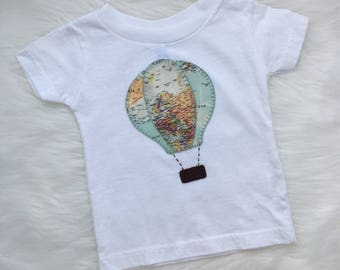 Hot air balloon tee, size 6 months, ready to ship- personalize with your child's name!